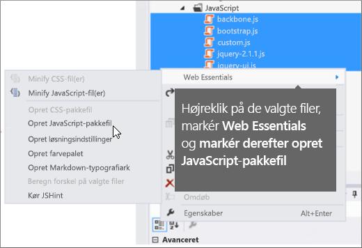 Skærmbillede med menuindstillingerne i Web Essentials