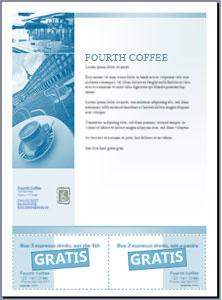 Flyer med kuponer, der kan klippes ud, som er oprettet i Microsoft Office Publisher 2007