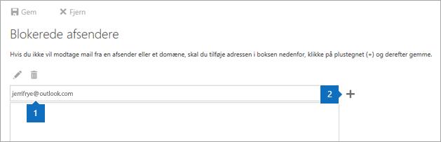 Et skærmbillede af siden Blokerede afsendere.