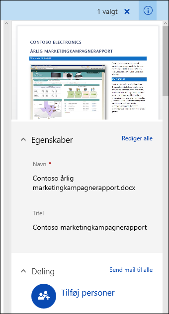 Office 365 Metadatrude til dokument
