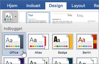 Klik på et tema under fanen design