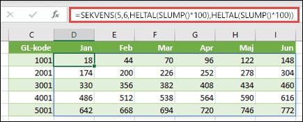 Eksempel hvor SEKVENS er indlejret med HELTAL og SLUMP for at oprette et eksempeldatasæt