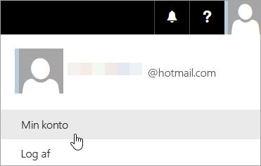Skærmbillede af valg af Min konto på rulleliste.