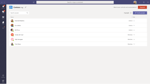 Administrere org skærmen