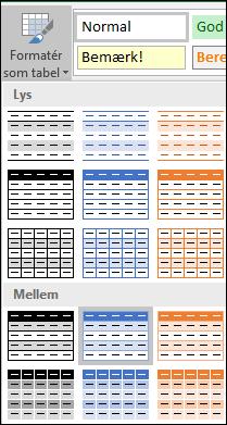 Markeringer i Typografigalleriet i Excel til Formatér som tabel