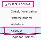 Klik for at udvide Ekstern deling, og klik derefter på Kalender.