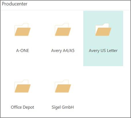 Postkortskabeloner til bestemte postkortproducenter, f.eks. Avery.