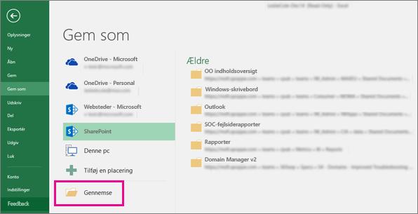 Klik på en SharePoint-mappe eller klik på Gennemse