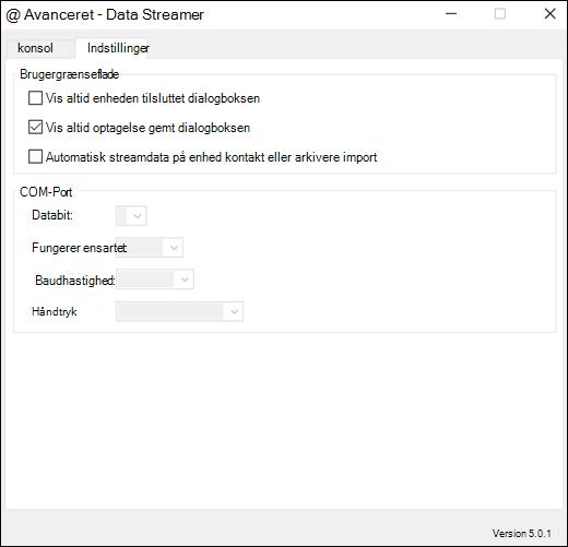 Fanen Avancerede indstillinger for tilføjelsesprogram til Excel-data strømmen