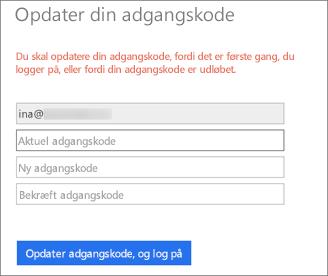 Office 365 beder brugeren om at oprette en ny adgangskode.
