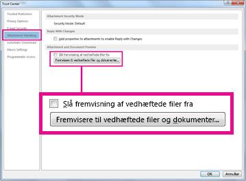 Indstillinger for håndtering af vedhæftede filer i Sikkerhedscenter