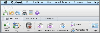 Sådan ser båndet ud i Outlook til Mac 2011