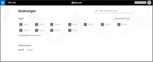 Startsiden for Office 365