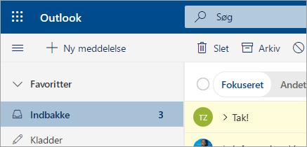 Et skærmbillede af mail i Outlook på internettet-betaversionen