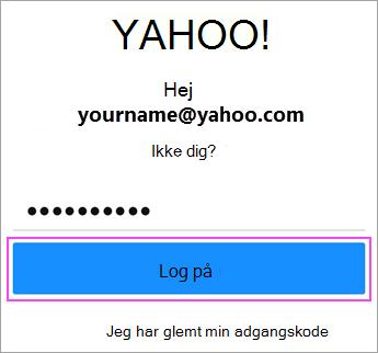 Angiv Yahoo adgangskode