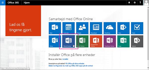 Vælg en Office Online-app