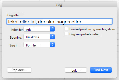 Søge efter tekst eller tal i en projektmappe eller et regneark ved at trykke på Ctrl+F