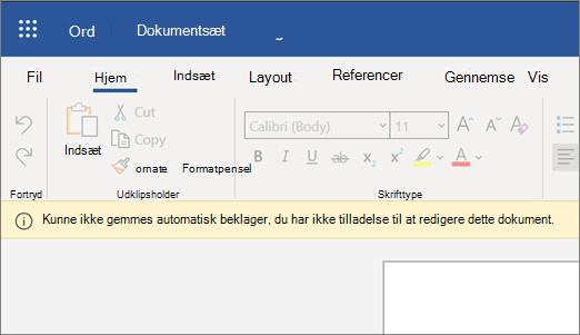 Skærmbillede af fejlen kunne ikke gemmes automatisk under redigering af et dokument i Word