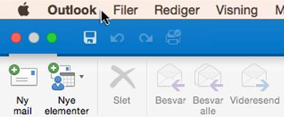 For at se, hvilken version af Outlook du har, skal du vælge Outlook på menulinjen.