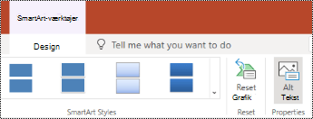 Knappen Alternativ tekst på båndet til SmartArt i PowerPoint Online.