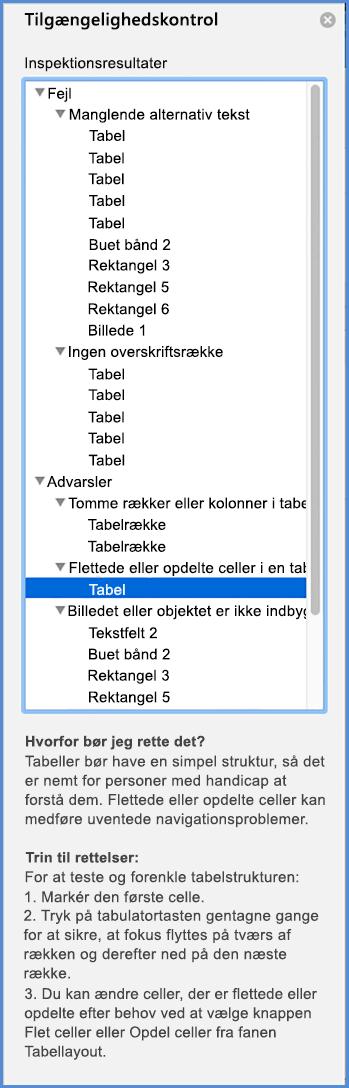 Skærmbillede af menuen Tilgængelighedskontrol