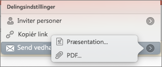 Indstillinger for Del mail PPT til Mac