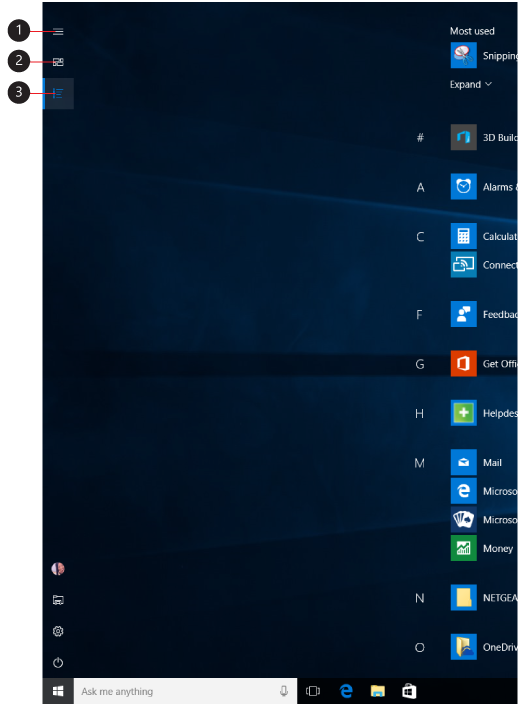Billede af startskærmen i fuldskærmsvisning med billedforklaring for menuknapperne