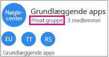 """Eksempel på gruppekort med """"privat gruppe"""" fremhævet"""