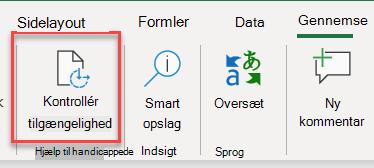 Skærmbillede af brugergrænsefladen til at åbne Tilgængelighedskontrol