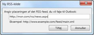 Angiv URL-adressen for RSS-feed