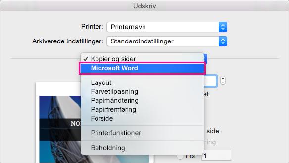 Vælg Microsoft Word i dialogboksen Udskriv for at konfigurere flere indstillinger for udskrivning.