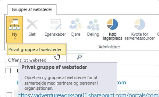 Ny gruppe af websteder rullemenuen dialogboks med privat gruppe markeret