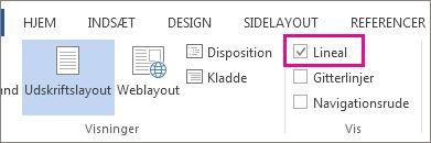Skærmbillede af fanen Vis i Word 2013, der viser indstillingerne for Lineal markeret og fremhævet.