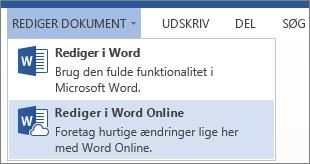 Rediger i Word Online