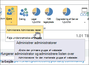 SPO Knappen for webstedsadministratorejere med Administrer administratorer fremhævet.