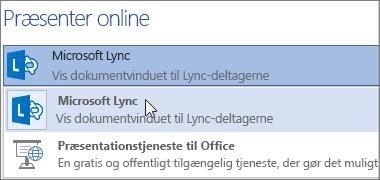 Præsenter online med Microsoft Lync