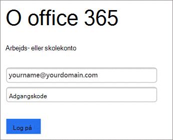 Angiv O365 adgangskode