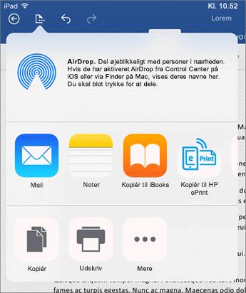 I dialogboksen Åbn i et andet program kan du sende dokumentet til en anden app til mail, udskrivning eller deling.