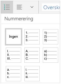 Nummerering typografier