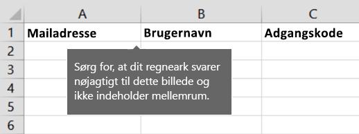 Celleoverskrifter i Excel-overførselsfil