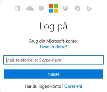 Skærmbillede af logonsiden Min konto, hvor du tilgår Microsoft-kontoen, du bruger med Office