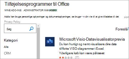 Viser tilføjelsesprogram til Datavisualisator-data i Excel