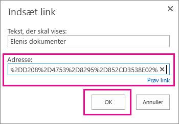Indsæt URL-adressen i OneDrive-mappen.