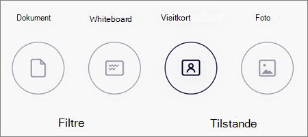 Indstillinger for tilstand for billedscanninger i OneDrive til iOS