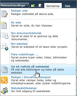 Vis alt webstedsindhold i menuen Webstedshandlinger