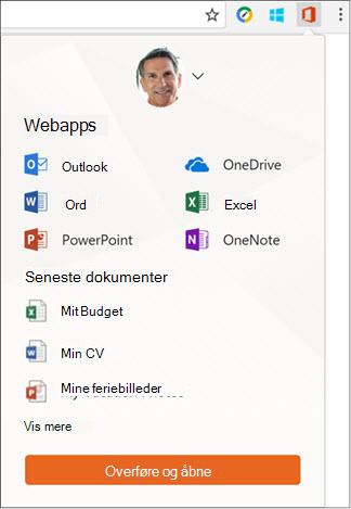 Klik på Office Online udvidelsen i Chrome filtypenavne linjen for at åbne panelet Office Online.
