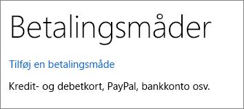 Siden med Betalingsmåder, der viser linket Tilføj en betalingsmåde.