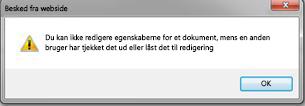 En meddelelse, der fortæller, at filen er låst af en anden