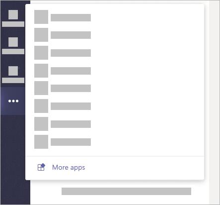 Vælg Flere indstillinger i venstre side af appen, og klik derefter på Flere apps for at søge i de apps, der er tilgængelige for Teams.