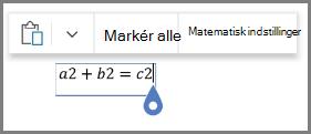 Med indstillingerne for matematisk til ligninger